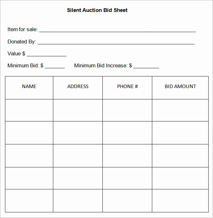 Template for Silent Auction New 20 Silent Auction Bid Sheet Templates & Samples Doc