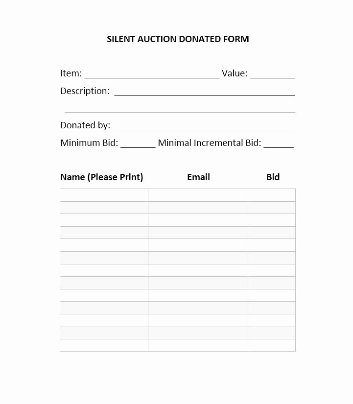 Template for Silent Auction New 40 Silent Auction Bid Sheet Templates [word Excel]