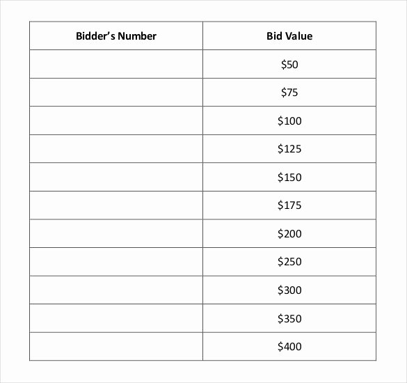Template for Silent Auction Unique 20 Silent Auction Bid Sheet Templates & Samples Doc