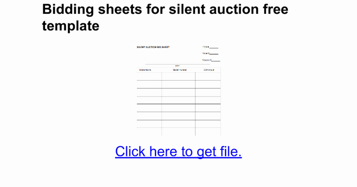 Template for Silent Auction Unique Bidding Sheets for Silent Auction Free Template Google Docs