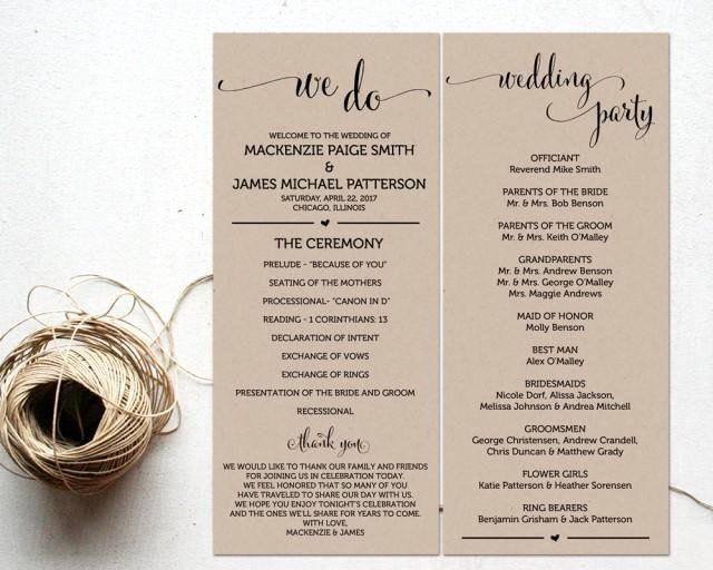 Template for Wedding Programs Awesome Ceremony Programs Wedding Program Template Ceremony