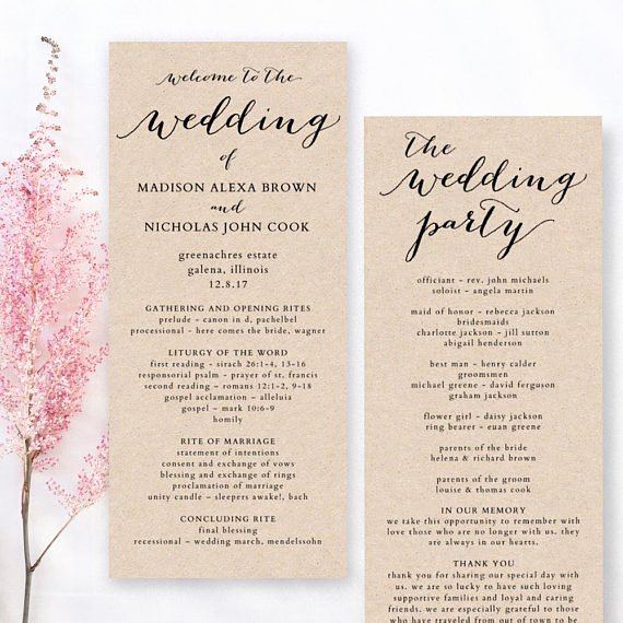 Template for Wedding Programs Awesome Wedding Program Template Printable Wedding Program Diy