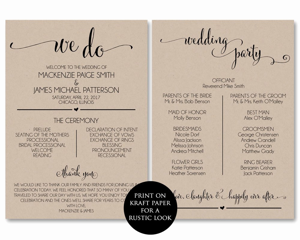 Template for Wedding Programs Awesome Wedding Program Template Wedding Program Printable We Do