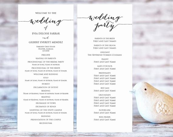 Template for Wedding Programs Beautiful Wedding Program Templates Ceremony Program Template Diy