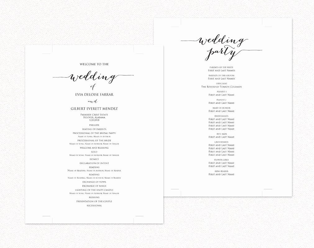 Template for Wedding Programs Best Of Wedding Program Templates · Wedding Templates and Printables