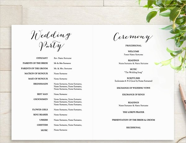 Template for Wedding Programs Elegant 25 Wedding Program Templates Psd Ai Eps Publisher