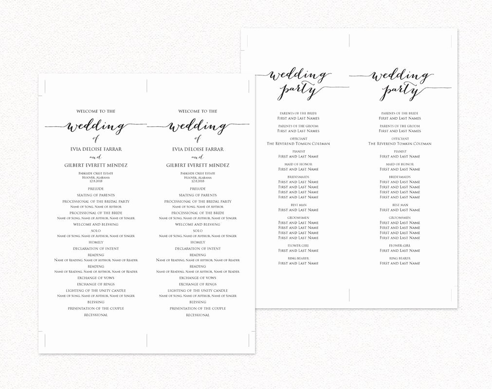 Template for Wedding Programs Elegant Wedding Ceremony Program Templates · Wedding Templates and