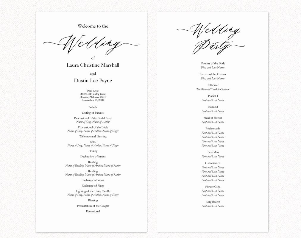 Template for Wedding Programs Elegant Wedding Ceremony Programs · Wedding Templates and Printables