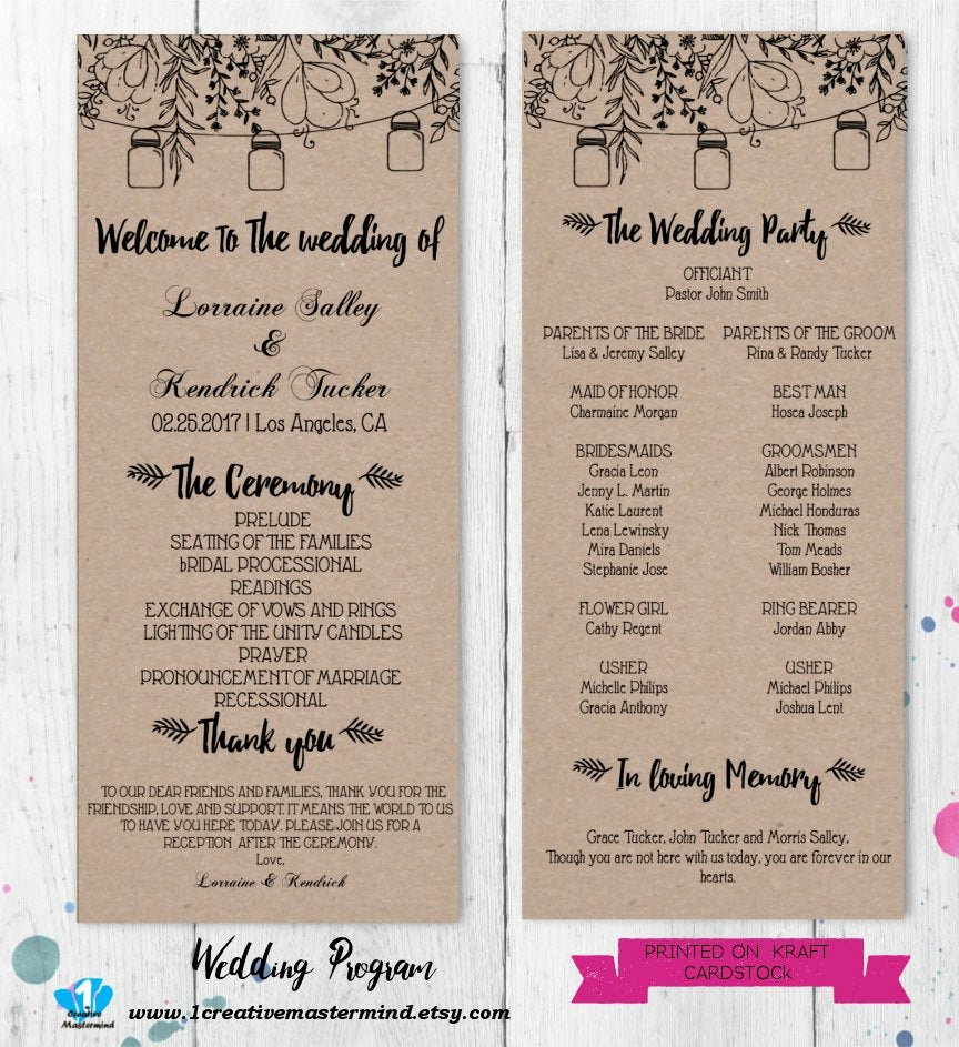 Template for Wedding Programs Fresh Diy Rustic Wedding Program Template Printable Editable