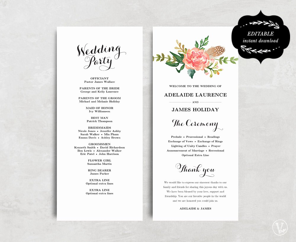 Template for Wedding Programs Fresh Printable Wedding Program Template Floral Wedding Program