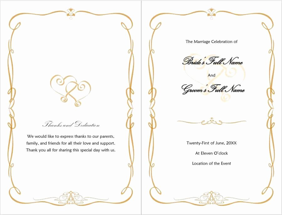 Template for Wedding Programs Inspirational 37 Printable Wedding Program Examples & Templates