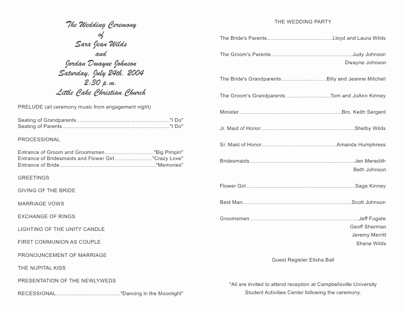Template for Wedding Programs Inspirational Wedding Program Template 8
