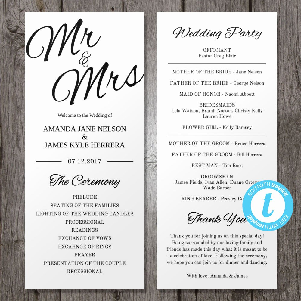 Template for Wedding Programs Lovely Printable Wedding Program Template Mr & Mrs Instant Download