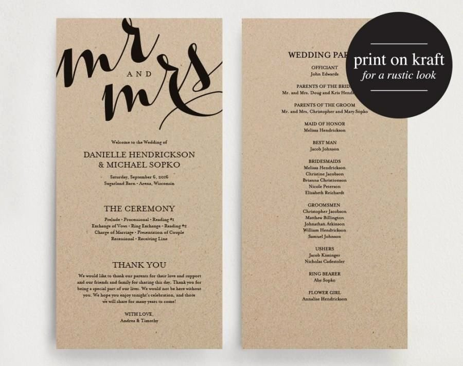 Template for Wedding Programs Luxury Wedding Program Printable Template Printable Program