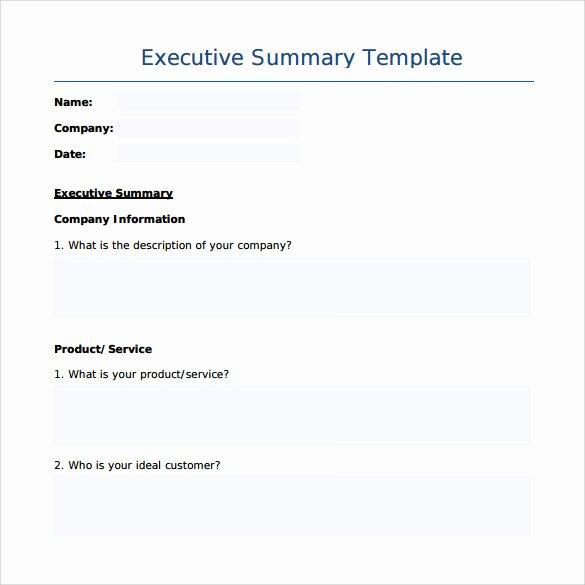 Template Of Executive Summary Beautiful Sample Executive Summary Template 7 Free Documents In