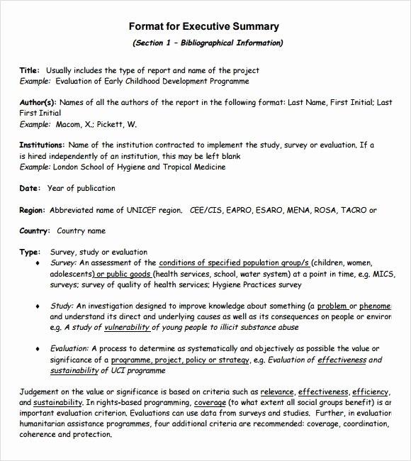 Template Of Executive Summary Elegant Sample Executive Summary Template 8 Documents In Pdf