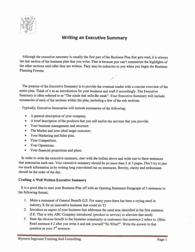 Template Of Executive Summary Inspirational Writing An Executive Summary