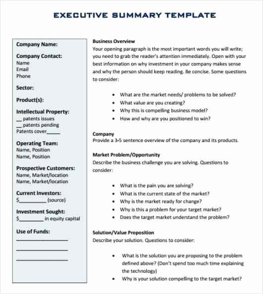 Template Of Executive Summary Luxury 43 Free Executive Summary Templates In Word Excel Pdf
