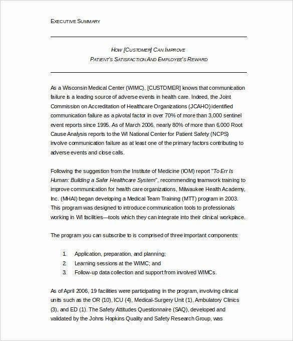 Template Of Executive Summary New 31 Executive Summary Templates Free Sample Example