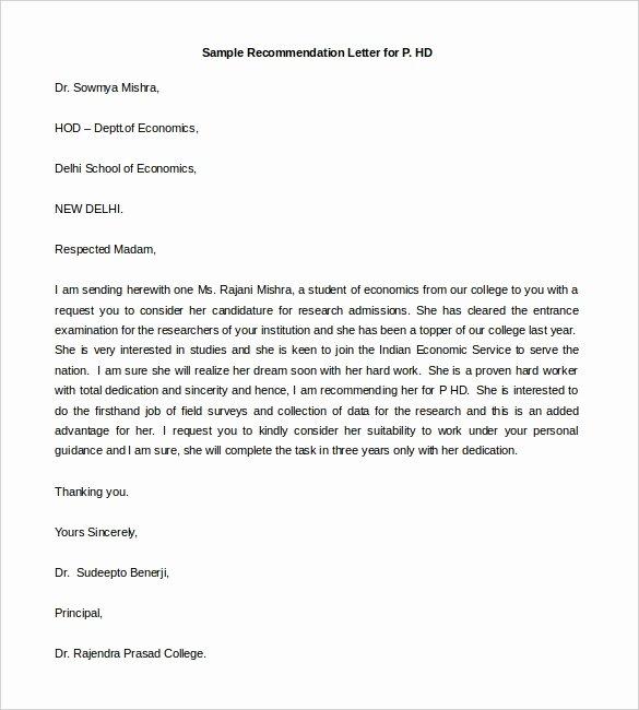 Template Sample Letter Of Recommendation Elegant 30 Re Mendation Letter Templates Pdf Doc