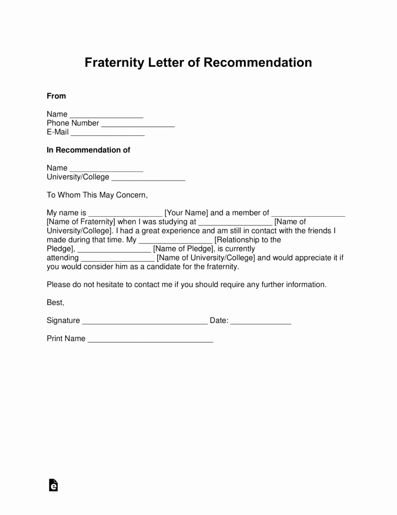 Template Sample Letter Of Recommendation Lovely Free Fraternity Letter Of Re Mendation Template with