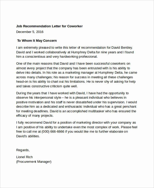 Template Sample Letter Of Recommendation New Letter Re Mendation for Coworker