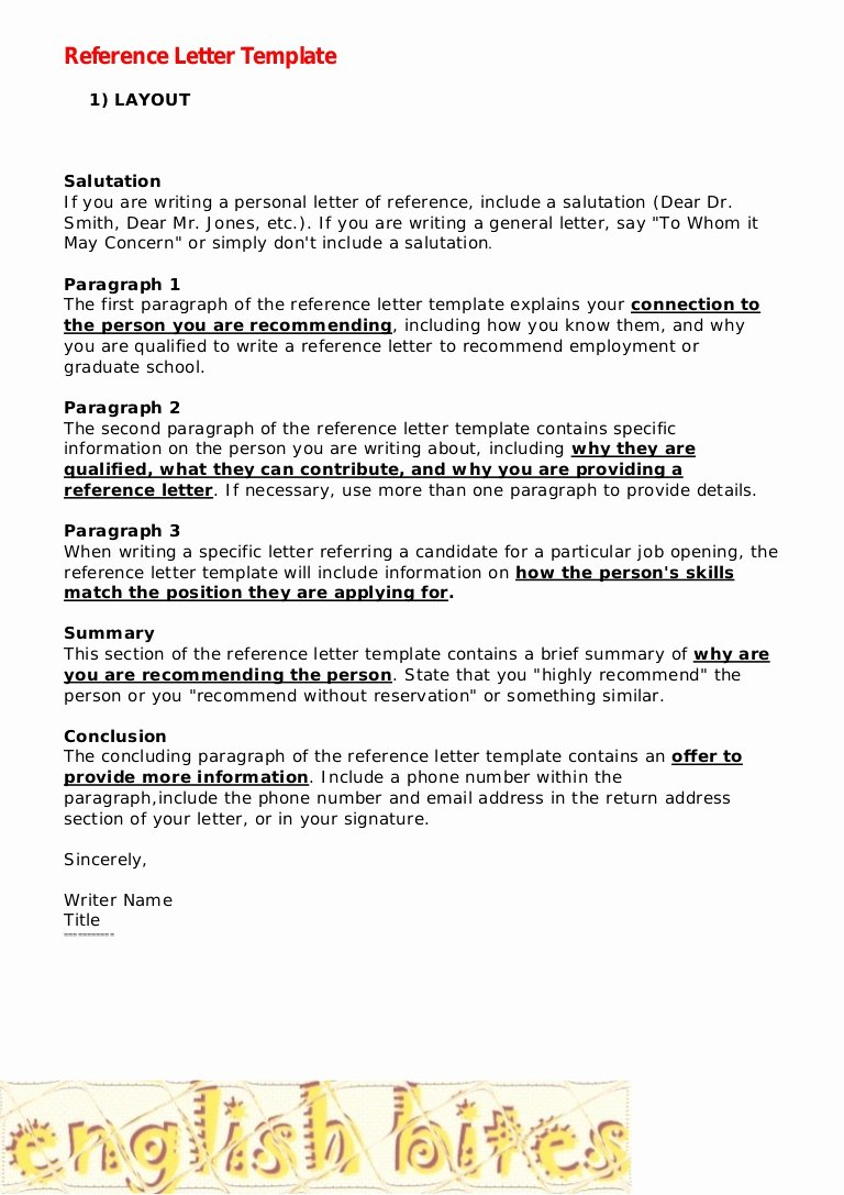Template Sample Letter Of Recommendation New Reference Letter Template
