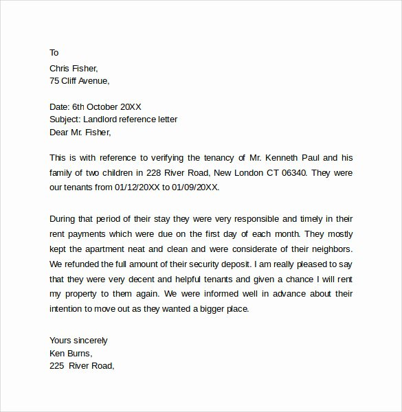 Tenant Letter Of Recommendation Fresh Landlord Reference Letter Template 10 Samples