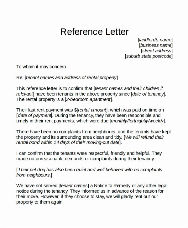 Tenant Letter Of Recommendation Inspirational 18 Reference Letter Template Free Sample Example