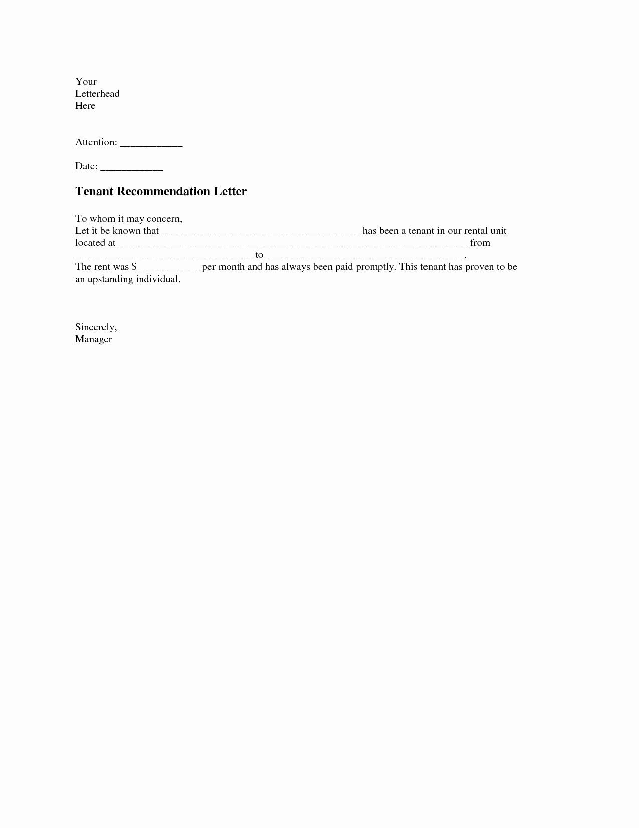 Tenant Letter Of Recommendation Inspirational Tenant Re Mendation Letter A Tenant Re Mendation