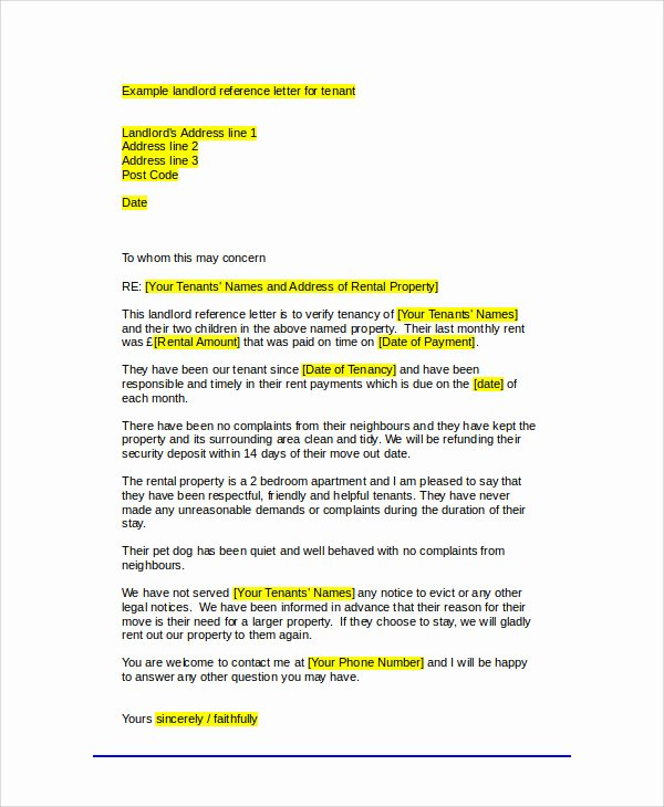 Tenant Letter Of Recommendation Luxury Sample Tenant Re Mendation Letter 7 Examples In Word Pdf