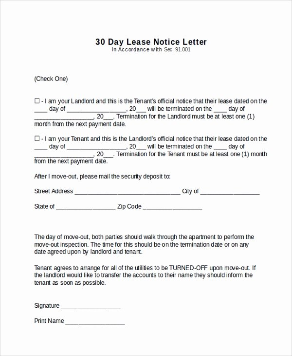 Tenant Move Out Letter Inspirational Sample 30 Day Notice Letter 10 Documents In Pdf Word
