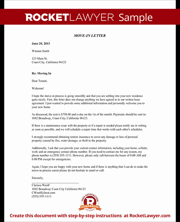Tenant Move Out Letter Unique Move In Letter to Tenant Move In Letter Template with