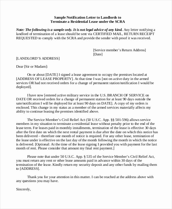Terminating A Lease Letter Best Of Sample Termination Letter 8 Free Documents In Pdf Doc