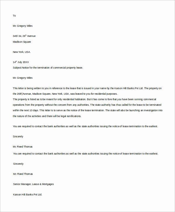 Terminating A Lease Letter Elegant Sample Mercial Lease 9 Examples In Word Pdf