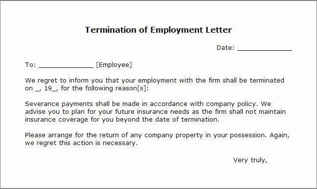 Termination for Cause Letter Fresh Free Printable Letter Termination form Generic