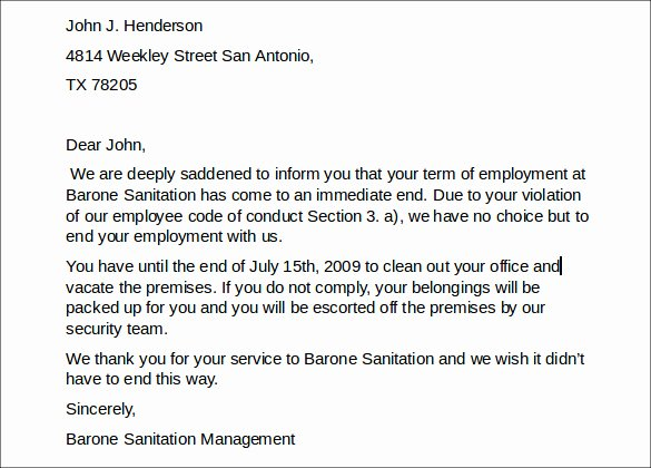 Termination for Cause Letter Luxury Job Termination Letter 7 Download In Pdf Word