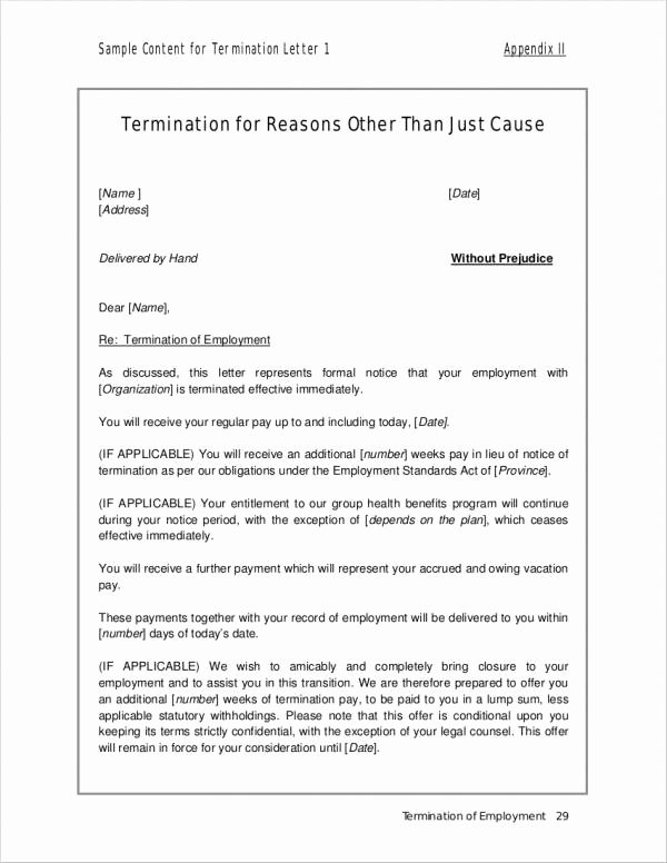 Termination for Cause Letter Unique Free 20 Employment Termination Letter Samples & Templates