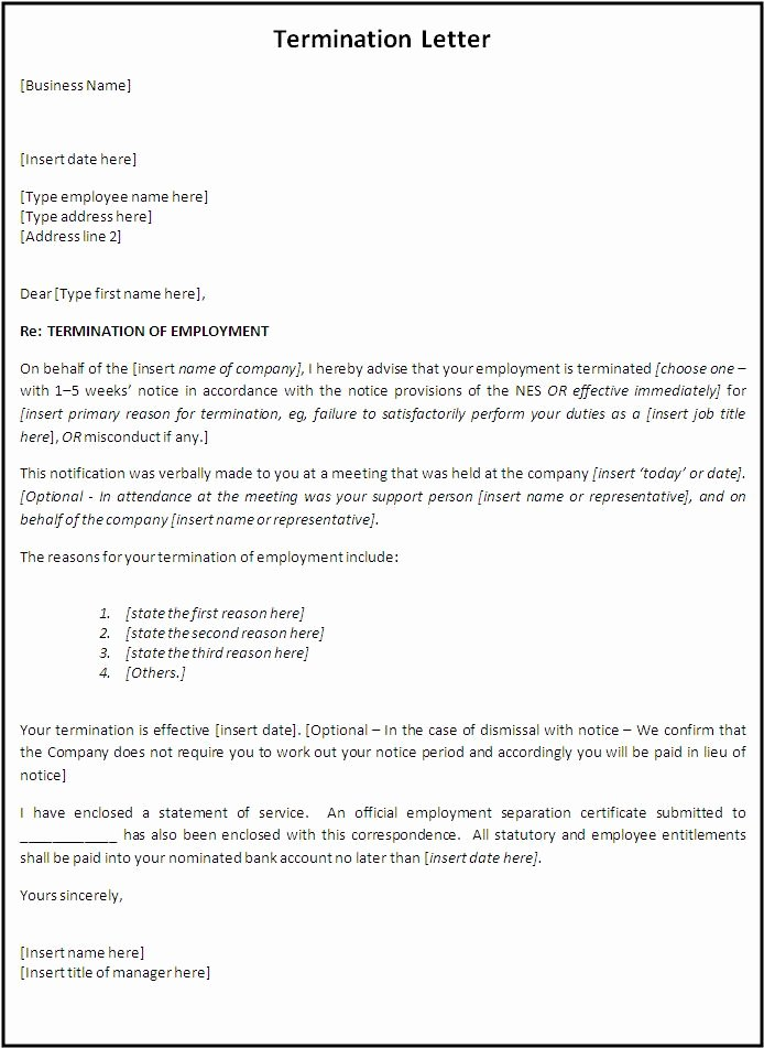 Termination Letter Sample Free Beautiful Termination Letter format