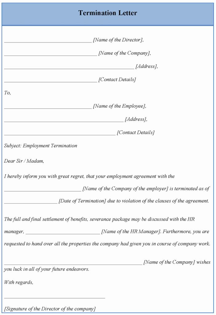 Termination Letter Sample Free Lovely Letter Template for Termination Example Of Termination