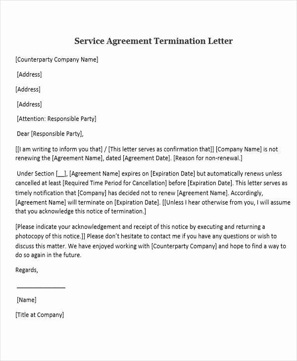 Termination Of Services Letter New 31 Sample Service Letters