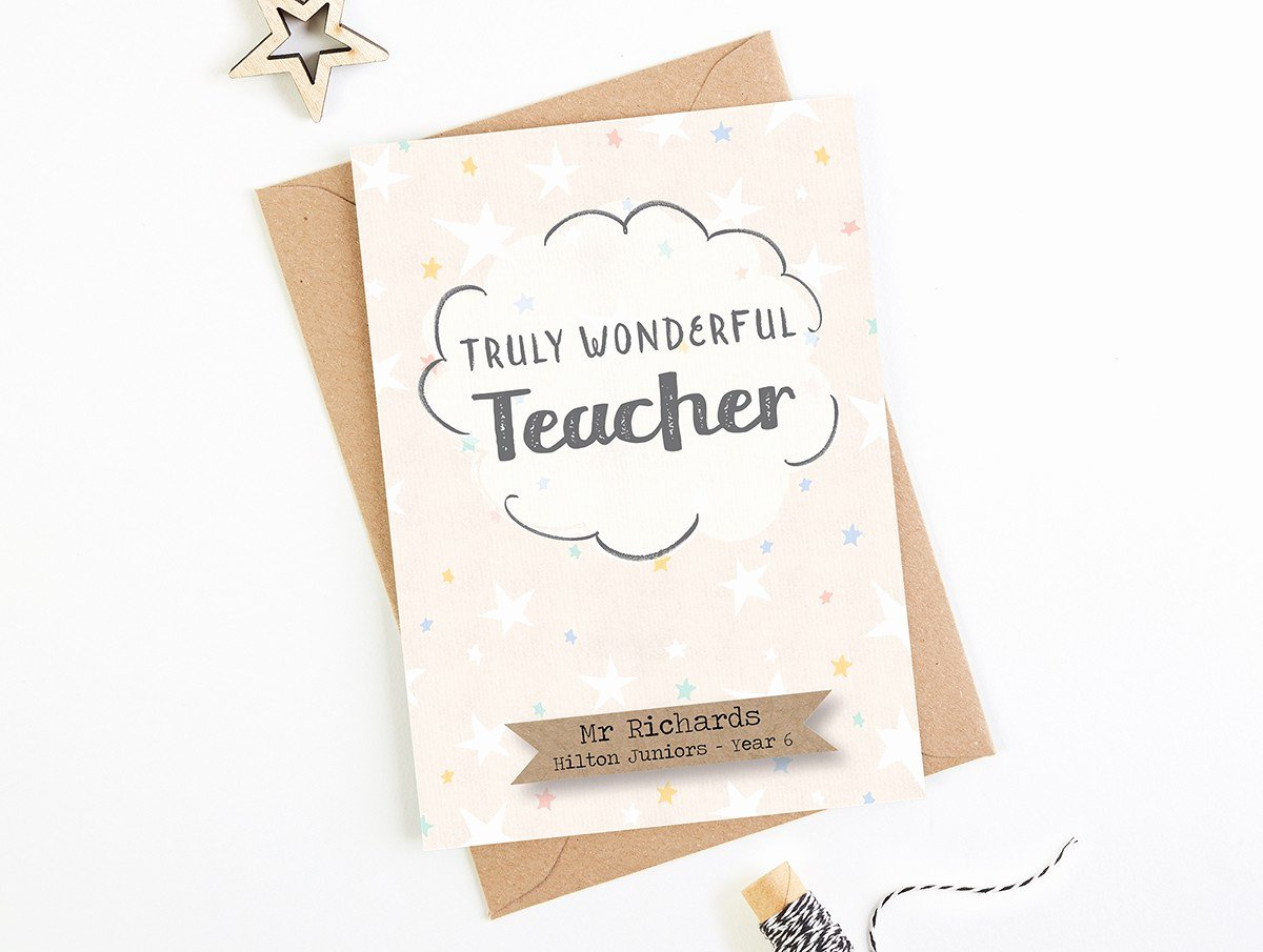 Thank You Card for Mentor Best Of Truly Wonderful Teacher Thank You Card
