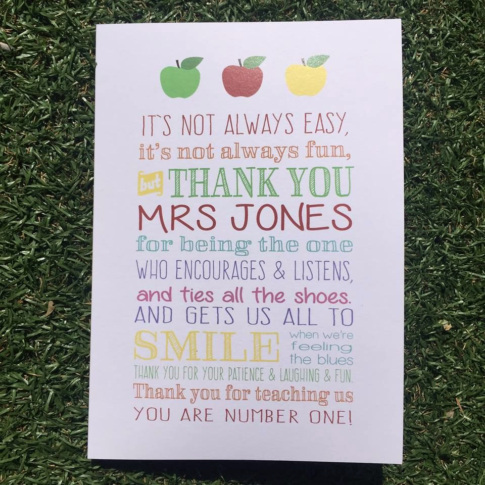 Thank You Card for Mentor Lovely Teacher Thank You Card Personalised with the Teacher S Name