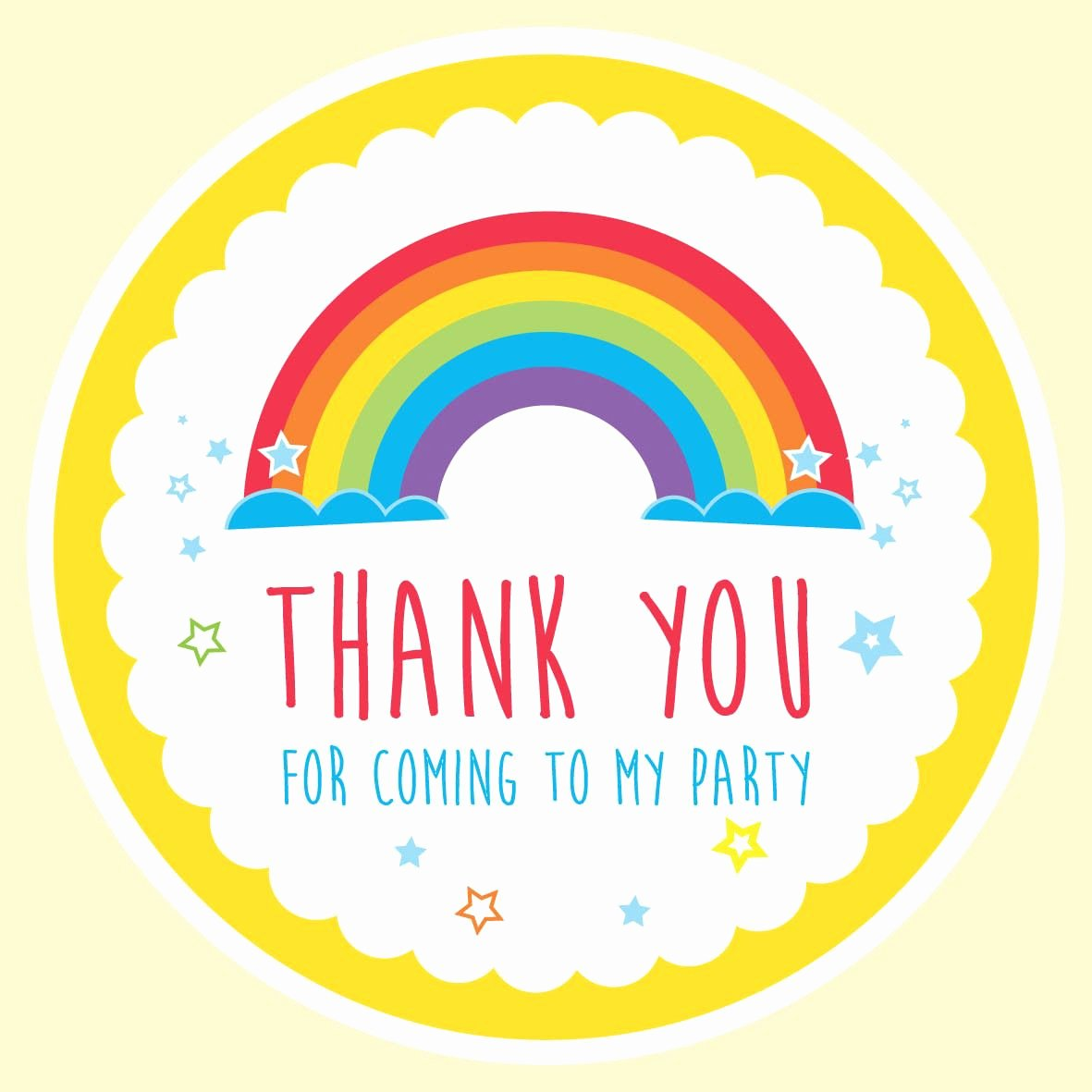 "Thank You for Coming Tag Best Of Rainbow Design ""thank You for Ing to My Party "" Label"