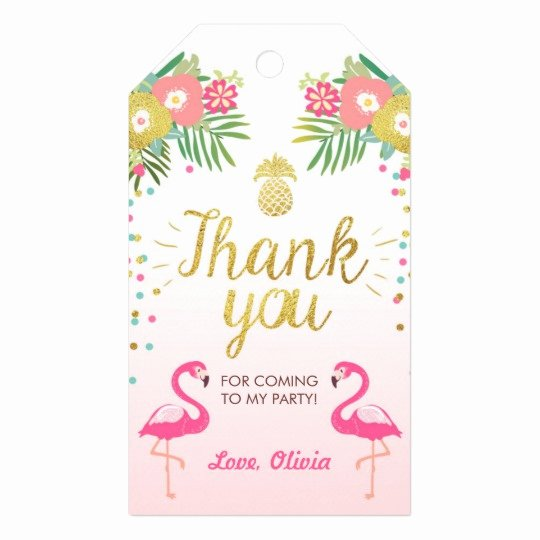 Thank You for Coming Tag Best Of Tropical Birthday Thank You Tags Flamingo Luau