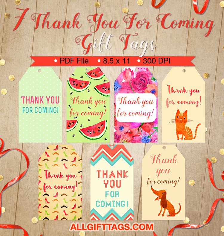Thank You for Coming Tag Elegant Thank You for Ing Gift Tags
