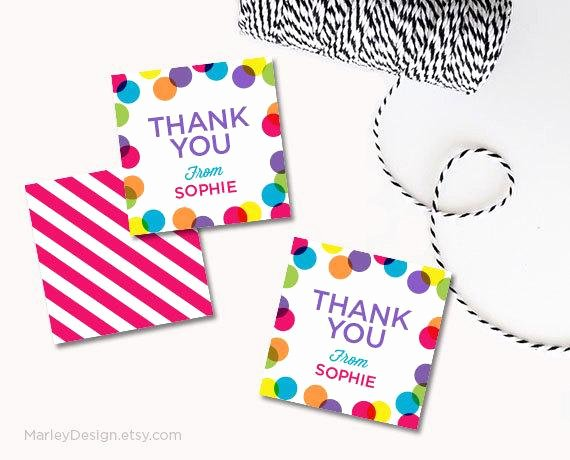 personalized thank you tags birthday