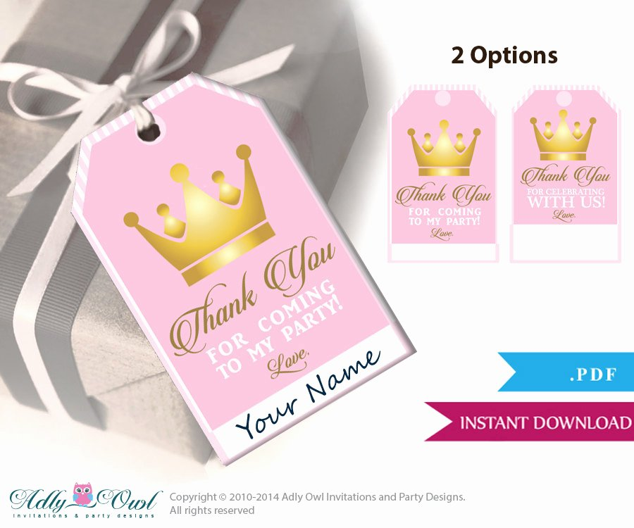 Thank You for Coming Tag Inspirational Girl Princess Thank You Tags Thank You for Ing Printable