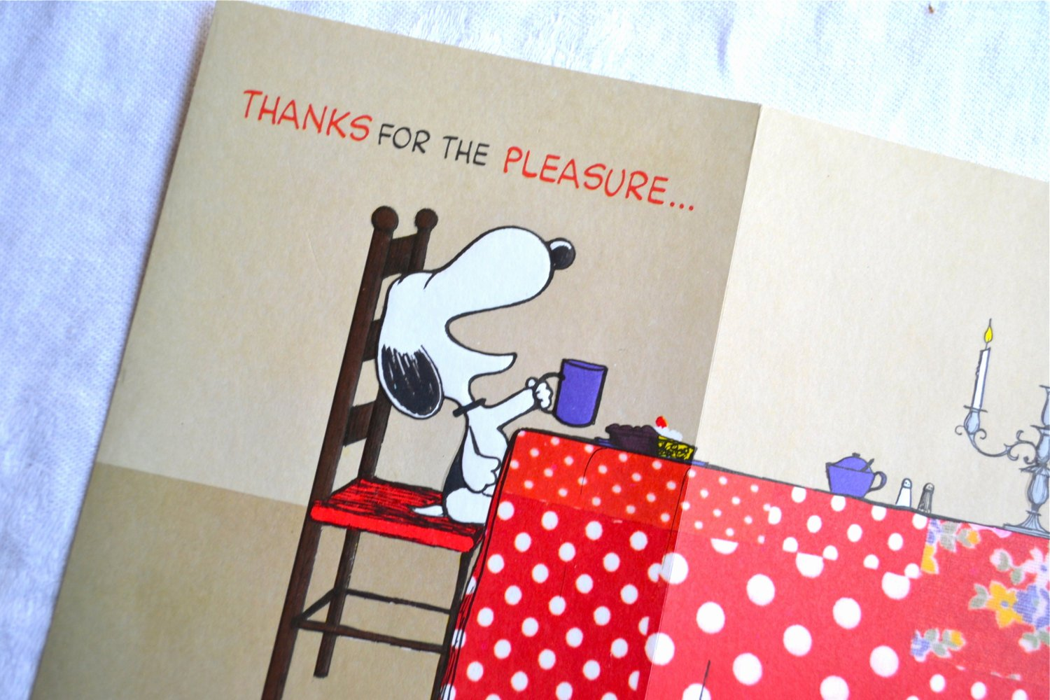 Thank You for Dinner Inspirational Vintage Snoopy Greeting Card Thank You for Dinner Nos