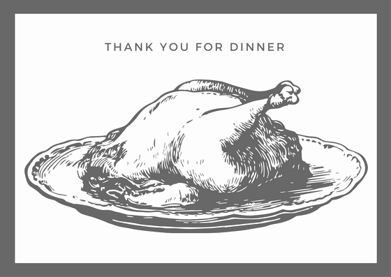 Thank You for Dinner New Dinner Thank You Card Printables